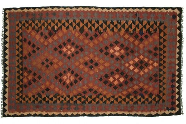 Afghan Maimana Kelim 245x157 Handgewebt Teppich 160x250 Mehrfarbig Geometrisch Muster