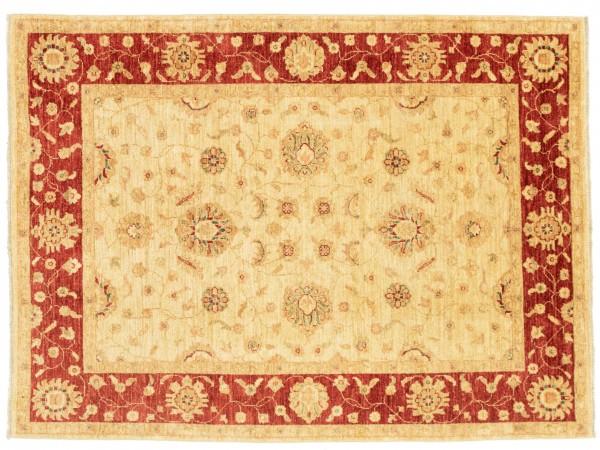 Afghan Chobi Ziegler 198x149 Handgeknüpft Teppich 150x200 Beige Blumenmuster Kurzflor