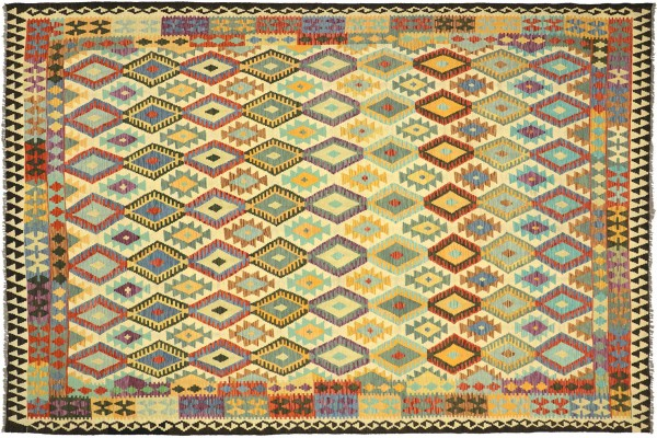 Afghan Maimana Kelim Bunt 345x258 Handgewebt Teppich 260x350 Bunt Geometrisch Orient