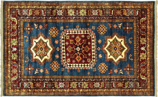 Afghan Kazak Fein 176x124 Handgeknüpft Orientteppich 120x180 Blau Umrandung Wolle