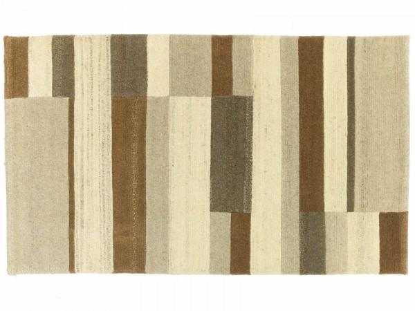Nepal 158x93 Handgeknüpft Teppich 90x160 Beige Geometrisch Muster Kurzflor Orient Rug