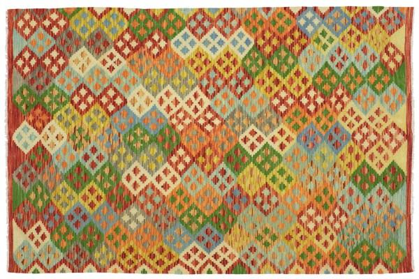 Afghan Maimana Kelim Bunt 198x152 Handgewebt Teppich 150x200 Bunt Geometrisch Orient