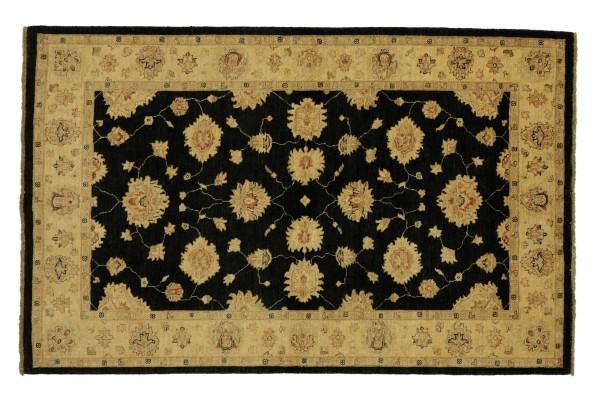 Afghan Chobi Ziegler 214x151 Handgeknüpft Teppich 150x210 Schwarz Floral Kurzflor