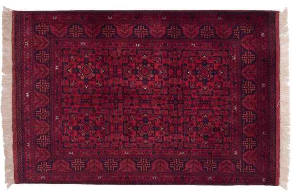 Afghan Belgique Khal Mohammadi 151x100 Handgeknüpft Teppich 100x150 Braun Geometrisch