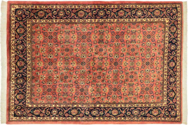 Sarough Teppich 210x240 Handgeknüpft Quadratisch Rosa Floral Wolle Kurzflor Rug