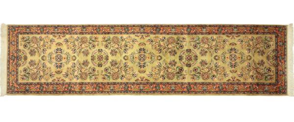 Sarough Teppich 80x290 Handgeknüpft Läufer Ockergrün Floral Wolle Kurzflor Rug