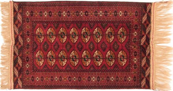 Kaukasus Buchara 126x84 Handgeknüpft Teppich 80x130 Rot Geometrisch Muster Kurzflor