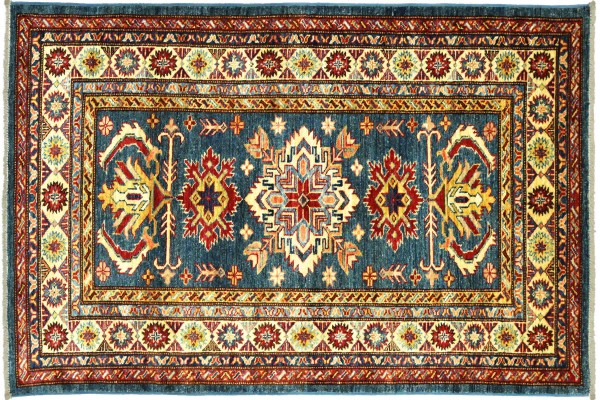 Afghan Kazak Fein 159x97 Handgeknüpft Orientteppich 100x160 Blau Umrandung Wolle