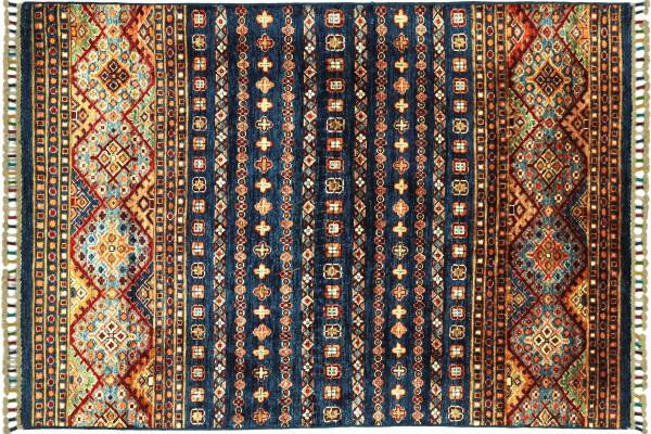 Afghan Ziegler Khorjin 149x102 Handgeknüpft Orientteppich 100x150 Blau Wolle Kurzflor