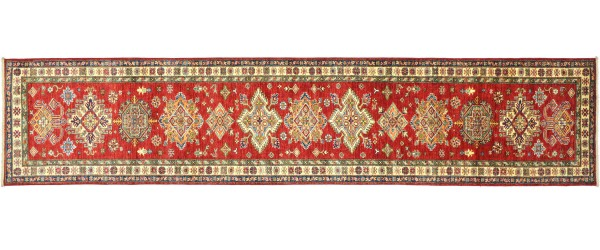 Afghan Kazak Fein 378x83 Handgeknüpft Orientteppich 80x380 Läufer Rot Geometrisch Wolle