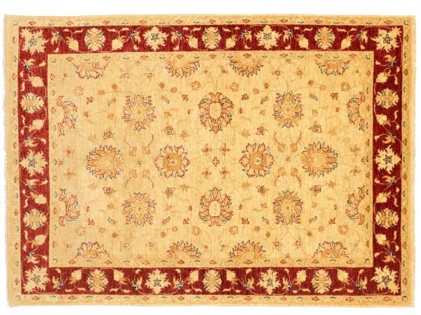Afghan Chobi Ziegler 210x150 Handgeknüpft Teppich 150x210 Beige Blumenmuster Kurzflor