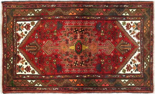 Perser Hamadan 150x100 Handgeknüpft Orientteppich 100x150 Rot Medaillon Wolle Kurzflor