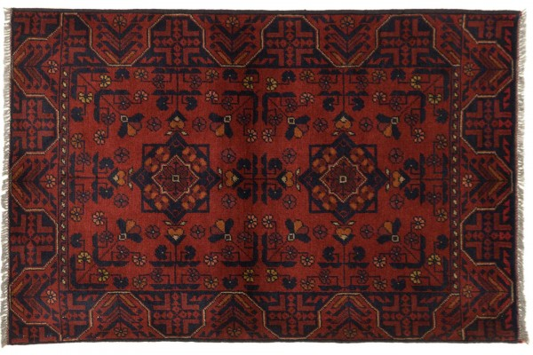 Afghan Khal Mohammadi 122x80 Handgeknüpft Teppich 80x120 Braun Geometrisch Muster