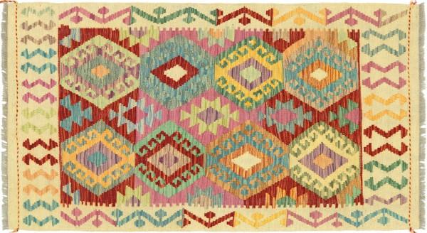 Afghan Maimana Kelim Bunt 132x79 Handgewebt Teppich 80x130 Bunt Geometrisch Orient