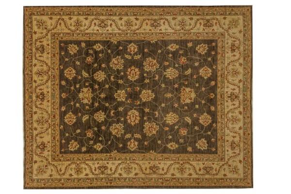 Afghan Chobi Ziegler 300x248 Handgeknüpft Teppich 250x300 Braun Blumenmuster Kurzflor