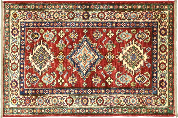 Afghan Kazak Fein 114x76 Handgeknüpft Orientteppich 80x110 Rot Umrandung Wolle Kurzflor