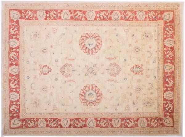 Afghan Chobi Ziegler Fein 193x144 Handgeknüpft Teppich 140x190 Beige Blumenmuster