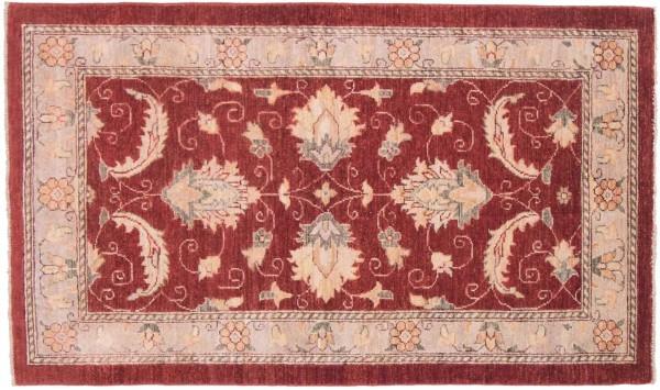 Afghan Chobi Ziegler 148x88 Handgeknüpft Teppich 90x150 Rot Blumenmuster Kurzflor