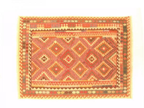 Afghan Maimana Kelim Bunt 296x202 Handgewebt Teppich 200x300 Rosa Geometrisch Muster
