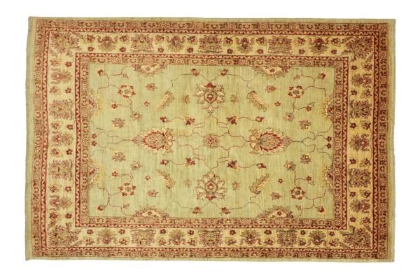 Afghan Chobi Ziegler 243x190 Handgeknüpft Teppich 190x240 Grün Floral Kurzflor Orient