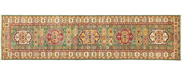 Afghan Kazak Fein 306x79 Handgeknüpft Orientteppich 80x310 Läufer Grün Geometrisch