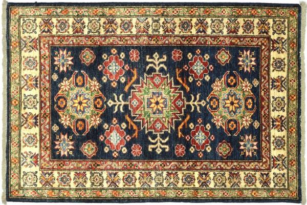 Afghan Kazak Fein 119x88 Handgeknüpft Orientteppich 90x120 Schwarz Umrandung Wolle