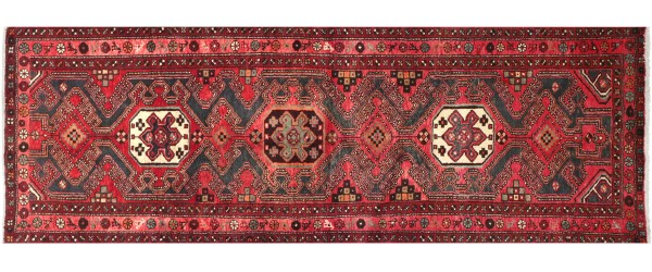 Perser Hamedan Teppich 100x280 Handgeknüpft Läufer Rot spiegelmuster Wolle Kurzflor Rug