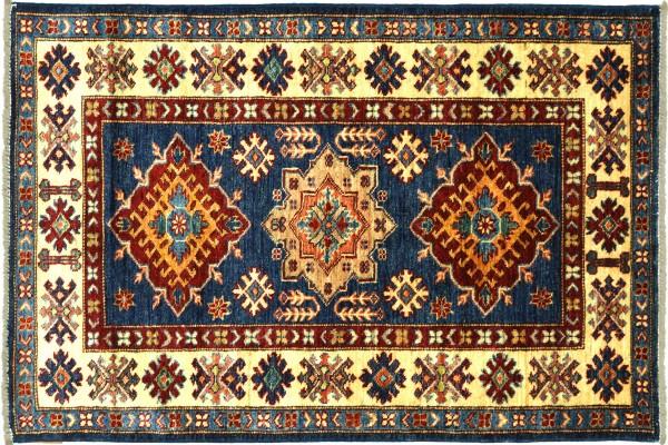Afghan Kazak Fein 129x83 Handgeknüpft Orientteppich 80x130 Blau Umrandung Wolle