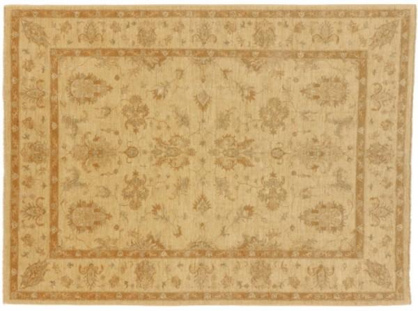 Afghan Chobi Ziegler 232x173 Handgeknüpft Teppich 170x230 Beige Blumenmuster Kurzflor