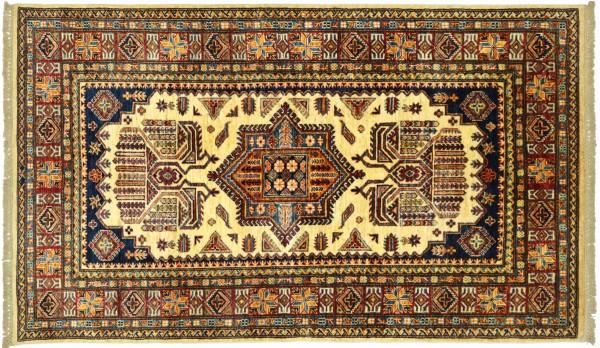 Afghan Kazak Fein 189x123 Handgeknüpft Orientteppich 120x190 Beige Umrandung Wolle