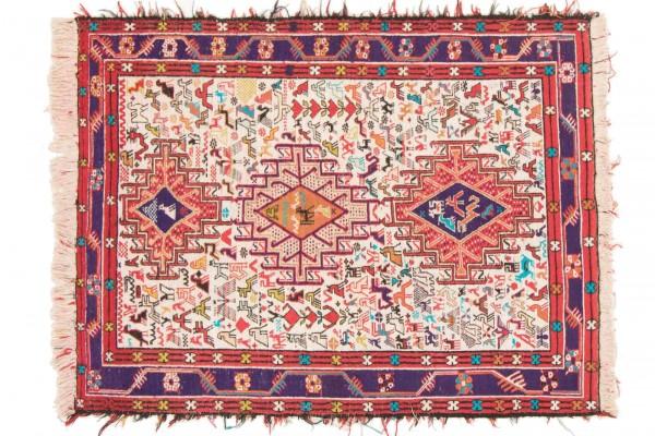 Perser Seidensoumakh 130x98 Handgewebt Teppich 100x130 Mehrfarbig Orientalisch