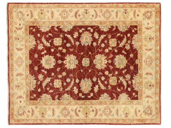 Afghan Chobi Ziegler 183x147 Handgeknüpft Teppich 150x180 Beige Blumenmuster Kurzflor