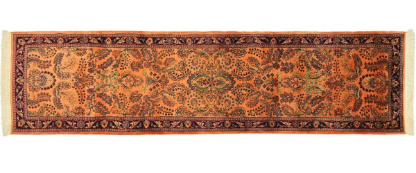 Sarough Teppich 80x280 Handgeknüpft Läufer Orange Floral Wolle Kurzflor Rug