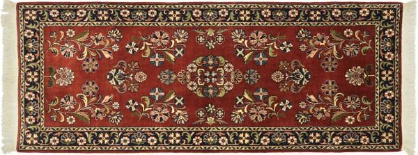 Sarough Teppich 80x190 Handgeknüpft Braun Floral Wolle Kurzflor Rug