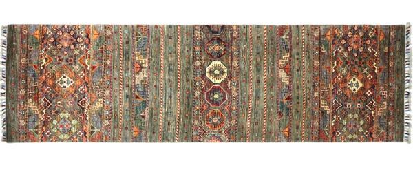 Afghan Ziegler Khorjin Teppich 80x260 Handgeknüpft Läufer Grau Geometrische Wolle