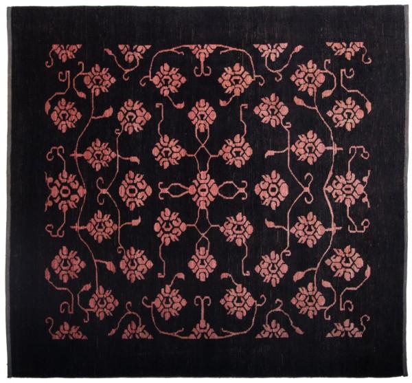 Afghan Modern Chobi Ziegler 213x206 Handgeknüpft Teppich 210x210 Quadratisch Schwarz
