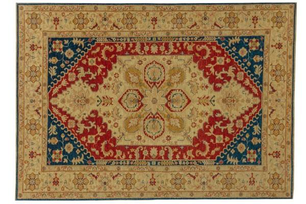 Afghan Chobi Ziegler 260x185 Handgeknüpft Teppich 190x260 Beige Orientalisch Kurzflor