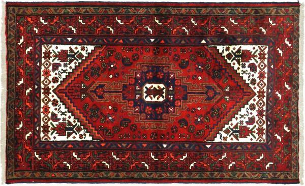 Perser Hamadan 143x100 Handgeknüpft Orientteppich 100x140 Rot Medaillon Wolle Kurzflor