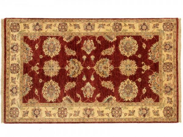 Afghan Chobi Ziegler 151x90 Handgeknüpft Teppich 90x150 Rot Blumenmuster Kurzflor