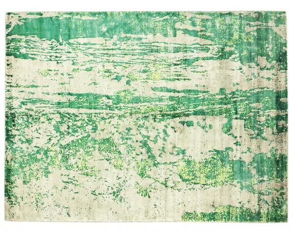 Handloom Vintage 230x160 Handgewebt Teppich 160x230 Grün Abstrakt Handarbeit Orient