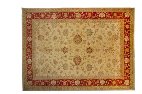 Afghan Chobi Ziegler 394x298 Handgeknüpft Teppich 300x390 Beige Orientalisch Kurzflor