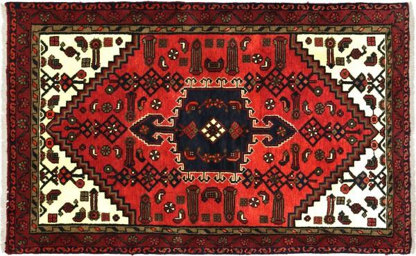 Perser Hamadan 144x100 Handgeknüpft Orientteppich 100x140 Rot Medaillon Wolle Kurzflor