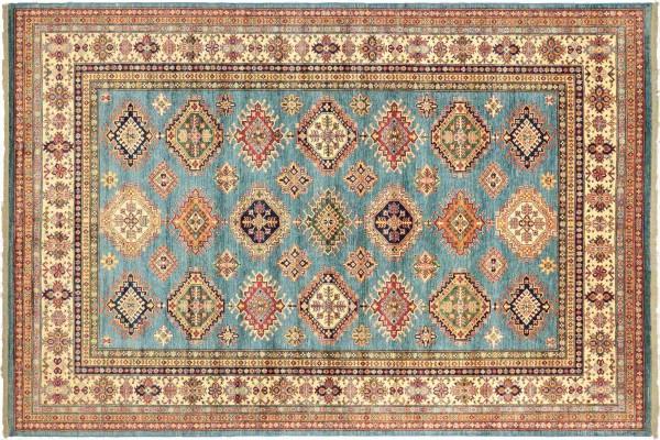 Afghan Kazak Fein 364x272 Handgeknüpft Orientteppich 270x360 Blau Geometrisch Wolle