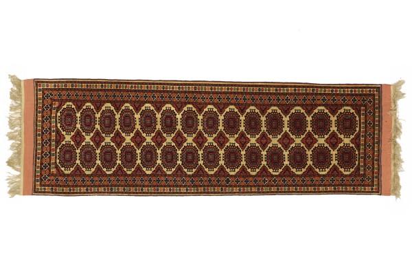 Afghan Mauri Kabul 202x76 Handgeknüpft Teppich 80x200 Läufer Rot Geometrisch Kurzflor