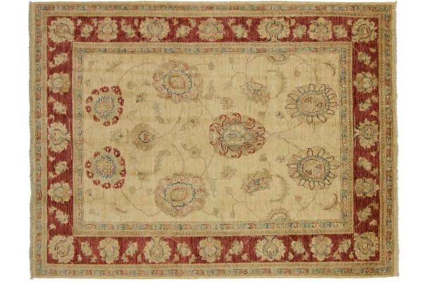 Afghan Chobi Ziegler 210x140 Handgeknüpft Teppich 140x210 Rot Blumenmuster Kurzflor