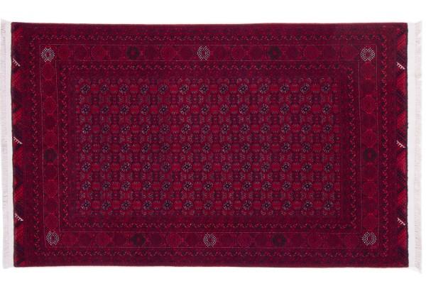 Afghan Orientteppich 200x120 Handgeknüpft Teppich 120x200 Rot Geometrisch Muster