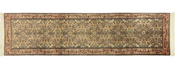 Sarough Teppich 70x260 Handgeknüpft Läufer Grau Floral Wolle Kurzflor Rug