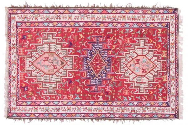 Perser Seidensoumakh 151x99 Handgewebt Teppich 100x150 Mehrfarbig Orientalisch