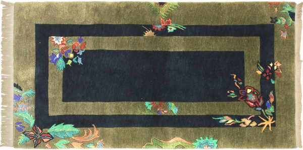 Tibet Nepal Teppich 100x170 Handgeknüpft Grün Umrandung Wolle Kurzflor Rug