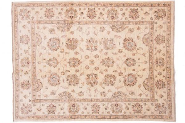 Afghan Chobi Ziegler 198x148 Handgeknüpft Teppich 150x200 Beige Orientalisch Kurzflor